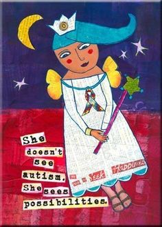 "Autism Awareness Quote. ""She Doesn't See Autism. She Sees Possibilities."" ART MAGNET for Moms. Nursery wall art. Autism Art. LadyBird.. $6.00, via Etsy."