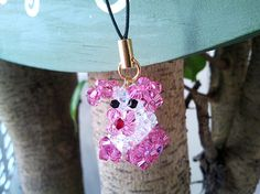 Pink cute dog cell phone cham  swarovski crystal by LaLaCrystal, $20.00