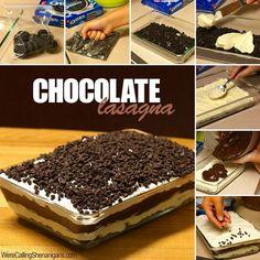 chocol lasagna, tempt chocol, gluten free, doce chocolate, diy easi, de chocol, chocolate lasagna