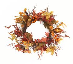 Fall Wreaths Faux Oak Leaves and Berries Perfect As An Autumn Front Door Wreath