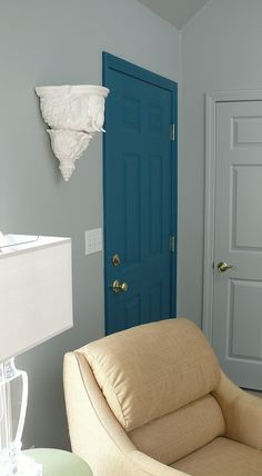 Fresh Paint! Sherwin Williams Argos on walls and ceilings, Really Teal on front door.