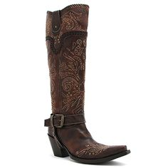 "Corral 16"" Brown Whip Stitch and Studs Boot at Maverick Western Wear"
