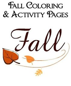 Fall Coloring and Activity Pages!