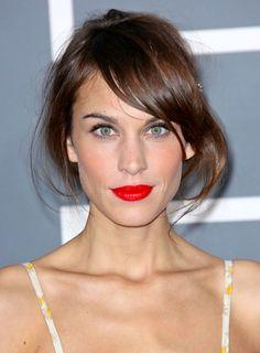 BRIGHT red lips! Love Alexa Chung.