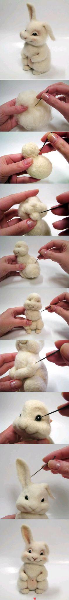 rabbit, diy ideas, needle felted animals, diy crafts, stuffed animal storage, felted wool, felting tutorials, needl felt, diy projects