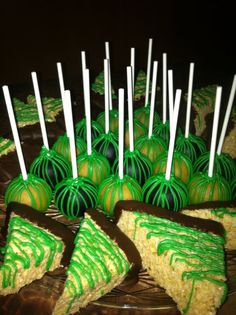 St. Patrick's Day Tray - yellow cake pops (these are gluten free) and decorated krispies. tray, cake popssss, yellow cakes
