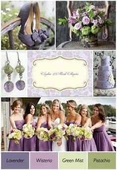 shades of purple, color combos, color schemes, bridesmaid dresses, wedding ideas, wedding colors, mint weddings, green weddings, theme weddings