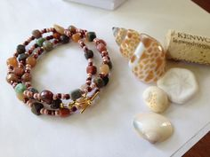 "Wrap Bracelet - Necklace Combo - Earth-tone gemstone pebbles mixed with iridescent glass - 25"" gold-tone toggle clasp"