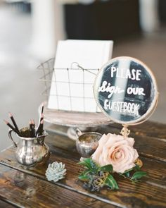 "See the ""Guestbook Station"" in our A Romantic, Rustic Wedding in Columbia, South Carolina gallery"