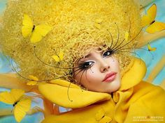 color art, butterflies, artistic photography, sweet girls, yellow