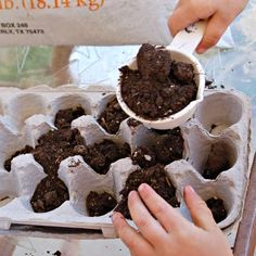 This is perfect for all those post-Easter-egg-coloring left-over egg cartons:  How to Make an Egg Carton Garden