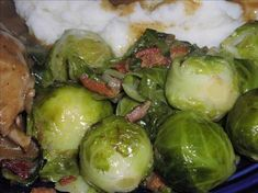 Rachael Ray s Brussels Sprouts with Bacon and Shallots from Food.com: Saw Rachael Ray for 30 Minute Meals make these. I thought it would be something different for Christmas Eve dinner, since my DH loves them and I always refuse to make them. Not these...they are DELICIOUS! Even my two year old son loves them! ray brussel, cheesy potatoes, brussel sprout, brussels sprouts, food, bacon, potato side dishes, potato sides, rachael ray