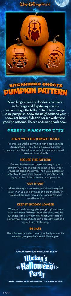 Hitchhiking Ghosts Pumpkin Pattern! #halloween #waltdisneyworld #jackolantern