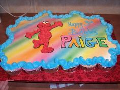 Elmo Cupcake Cake Stripe idea