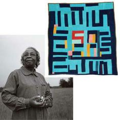 """Mary Lee Bendolf, of Gee's Bend, and her quilt """"blocks and stripes"""" (Photo: Smithsonian Magazine)"""
