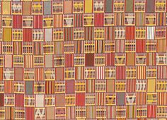 Ewe805 - Superb example of classic style Ewe chief's cloth in which coloured weft faced blocks alternate along each strip with equal sized warp faced sections containing supplementary weft float motifs. On a few strips here he has repeated the same motif with variations along the length of the strip, such as the row of hands eight strips down.