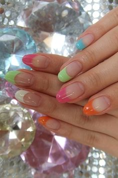 Multi-Color French Tips for Spring