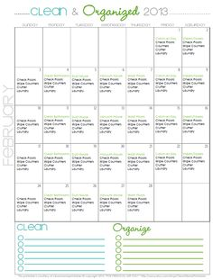 FREE Cleaning Schedule/Routine Printable for February -- Clean Mama