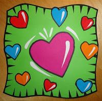 Kids Artists: In the style of Burton Morris - you'll need lots of construction paper artists, pop art, heart, art lessons, valentine day, burton morri, collages, kid artist, construction paper