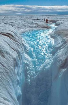 A moulin that formed in the Greenland ice sheet.