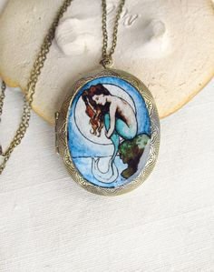 Mermaid by Moonlight -- Nautical Illustration Locket. By Sarah-Lambert Cook $ 38.00