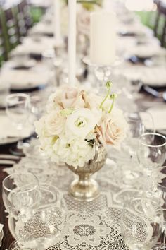 Centerpieces with lace