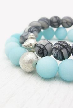 Baby Blue Jade Bracelet in Sterling Silver / Sky Blue