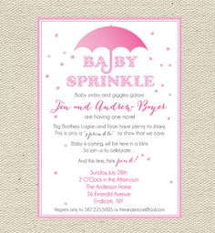 Baby Sprinkles Pink Baby Sprinkle / Baby by GigglesandGraceDesig, $9.00