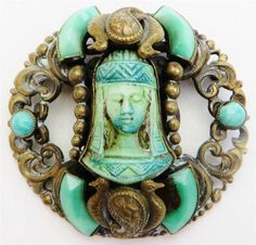 Antique Deco Czech Max Neiger Egyptian Jade Pharaoh Revival Filigree  Brooch