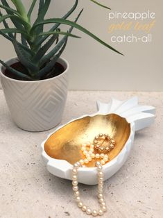 Make // Pineapple Gold Leaf Bowl