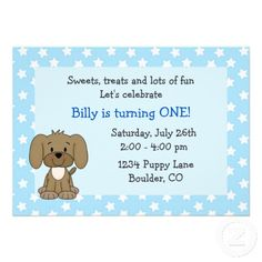 puppy dog first birthday invitations | Cute Puppy 1st Birthday Invitation for Boys from Zazzle.com