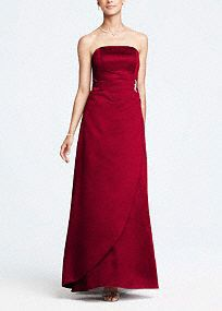 This satin, strapless, elegant ball gown is a bold and dramatic look. The brooch adds just the right amount of sparkle to the flattering side-drape skirt! Wear this classic... Learn more