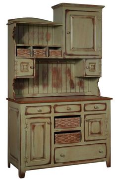 """Lizzies Hutch With Baskets is handmade by the Amish.  Your piece will be built with Premium Grade Eastern White Pine wood.  You will see some deformities and knots that come naturally with eastern pine.   Measures: 48"""" W x 82"""" H x 21"""" D Shown in Sand-Thru Seafoam paint & Basket  ~  Sand-Thru Black W/Michael's Cherry Stained Top & Baskets  ~  Antique Distress Celery W/Harvest Stained Top & Baskets Please Note: Baskets included are Amish handmade."""