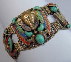 RARE VINTAGE ART DECO EGYPTIAN REVIVAL MAX NEIGER CZECH GLASS ENAMEL BRACELET | eBay