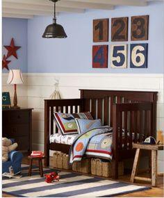 sports toddler boys room.