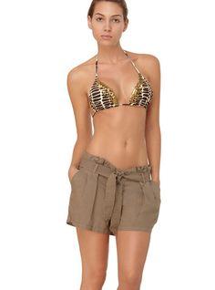 Bohemian Solids Linen Shorts by OndadeMar Swimwear