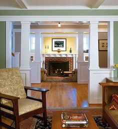 craftsman home interior, arts and crafts foyer, arts and crafts bungalow, remodel idea, column, hous, craftsman style homes interior, craftsman homes, craftsman bungalows