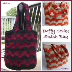 Free Pattern Puffy Spike Stitch Bag  Design by Crochet 'n Crafts
