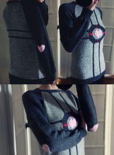 Hand Knit Companion Cube Sweater. CUTE.