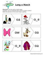 Long O Matching Game:Cut the cards on both pages. Match the pictures to the correct vowel sounds.  Long OMatching Game – Click Here    Information: Vowels, Long O, Long Vowel O
