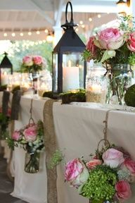mason jars and lanterns table settings, lantern, hanging flowers, country weddings, rustic weddings, head tables, mason jars, outdoor weddings, wedding table decorations