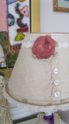 Shabby Chic or Cottage Chic Style Lamp Shade by SCBORIGINALS