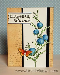 She used the Delicate Florals stamp set with some Prismacolor Colored Pencils. Not sure you can see it, but she also added dots with my white gel pen on each flower. The butterfly was colored using Copic markers. She used the Letter Background stamp and Antique Linen for the background.