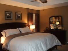 warm master bedroom decorating ideas | warm, brown, and simple master retreat, this is my master bedroom ...