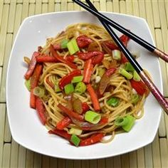 Lo Mein Noodles {I used broccoli in place of celery and it was fantastic!}