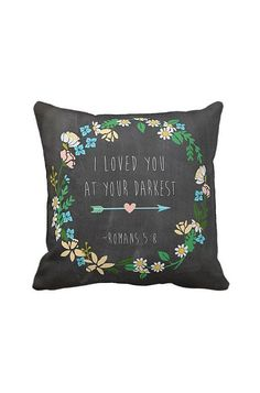 Pillow Cover Chalkboard Style Pastel Flowers Cotton Pillow Cover