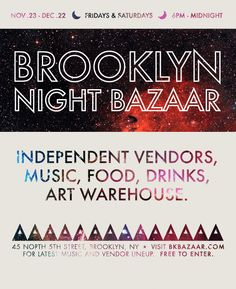 And the BKBazaar is back.  A hop, skip, and a few L stops off the West Village's 14th St stop.  Let's go.