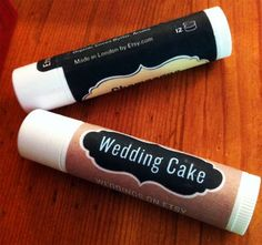 Wedding cake flavor lip balm.  Label printed by Anda from Etsy UK.