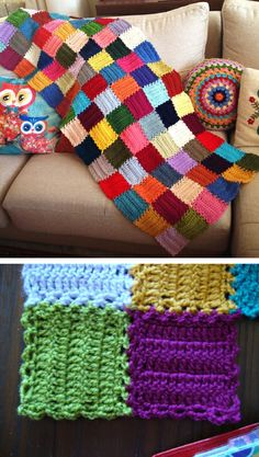 """Mood Blanket WIP by the lovely Angie of Le monde de Sucrette ~ For each square """"...a chain of 12. Followed by 5 rows of 12dc each. And a last round all around the square of 1sc-3ch-1sc (and in the 4 corners too). This last round is for joining the squares together.""""  #crochet #afghan #throw #pillow"""