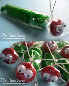 The Very Hungry Caterpillar - idea only.  Looks like M&Ms and googly eyes clear bags with a twistie at the neck.